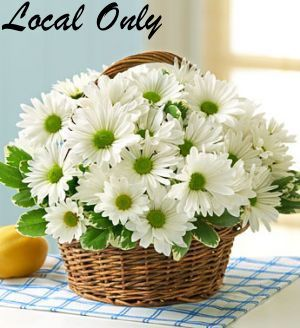 White Daisy Basket